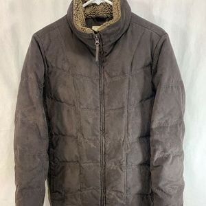 LL Bean Coat Jacket Puffer Brown Quilted Down